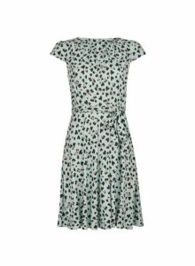 Womens Billie & Blossom Petite Multi Colour Animal Heart Print Fit And Flare Dress- Blue, Blue
