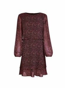 Womens Purple Ditsy Print Ruffle Fit And Flare Dress- Purple, Purple