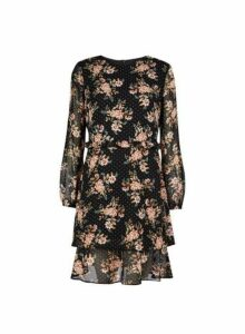 Womens Black Floral Print Ruffle Fit And Flare Dress- Black, Black