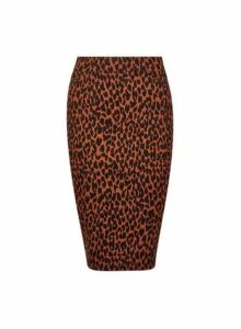 Womens Petite Brown Leopard Print Skirt, Brown