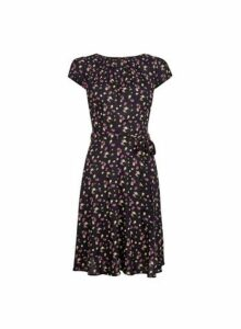 Womens **Billie & Blossom Black Floral Print Dress- Black, Black