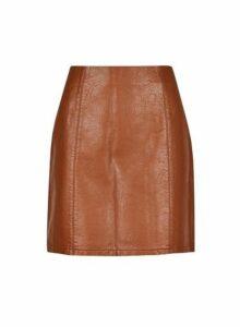 Womens Tan Seam Pu Mini Skirt- Brown, Brown