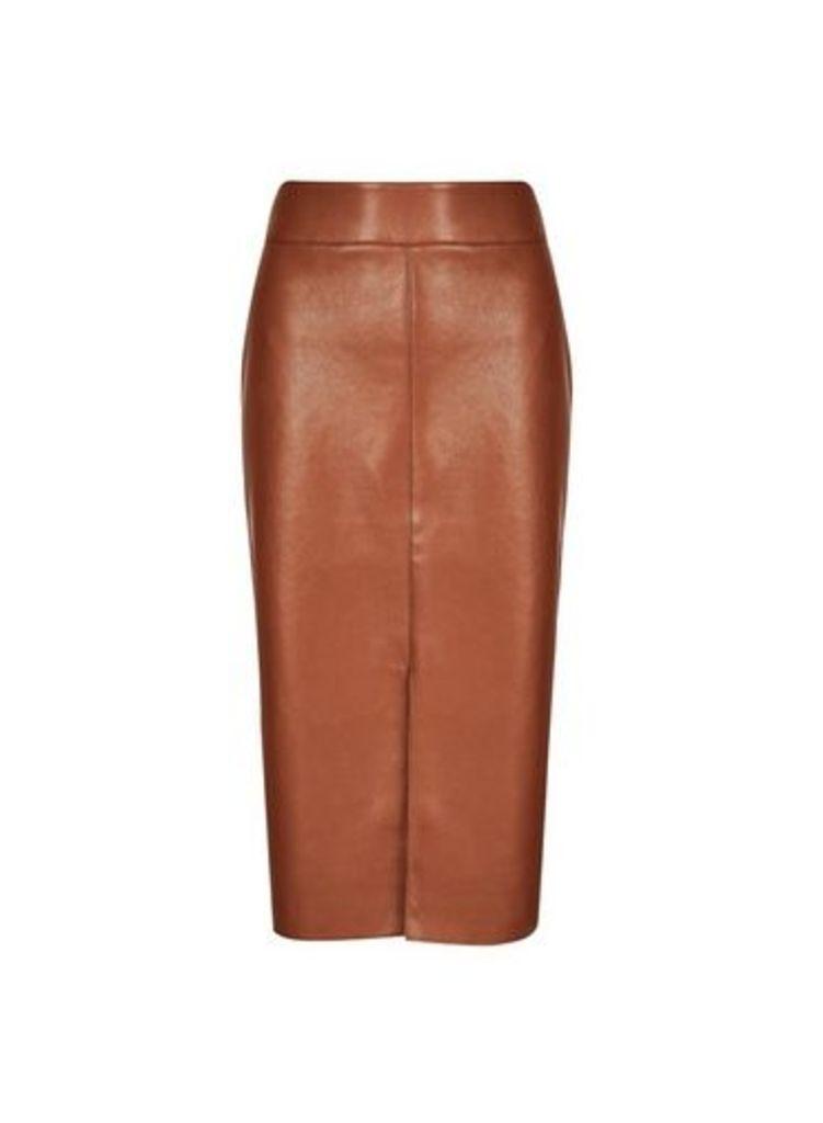 Womens Tan Pu Midi Skirt- Brown, Brown
