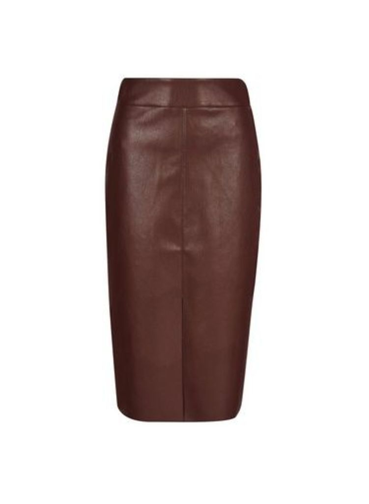 Womens Chocolate Pu Midi Skirt- Brown, Brown
