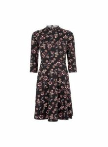Womens Black Floral Print Shirred Fit And Flare Cotton Blend Dress, Black