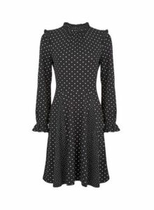 Womens Black Spot Print Frill Neck Swing Dress, Black