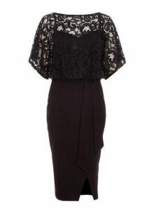 Womens *Quiz Black Lace Batwing Midi Dress- Black, Black
