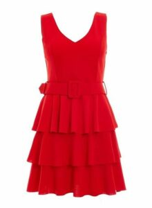 Womens *Quiz Red Layered Ra-Ra Belted Dress, Red