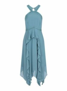 Womens **Little Mistress Sage Ruffle Midi Dress- Blue, Blue