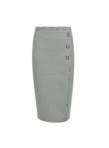 Womens Black And White Mini Dogtooth Pencil Skirt, Black