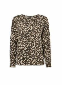 Womens Multi Colour Leopard Print Batwing Top- Leopard, Leopard