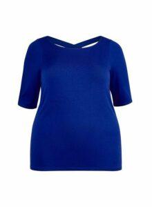 Womens **Dp Curve Cobalt Cross Back Top- Blue, Blue