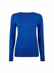 Womens Cobalt Button Cuff Crew Neck Jumper, Cobalt