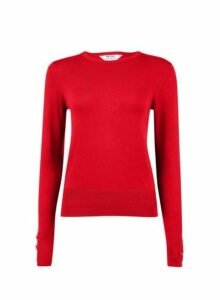 Womens Petite Red Button Detail Jumpers- Red, Red