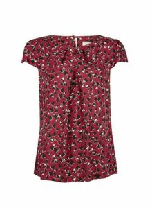 Womens **Billie & Blossom Red Animal Heart Shell Blouse- Red, Red
