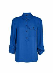 Womens Cobalt Roll Sleeve Shirt- Cobalt, Cobalt