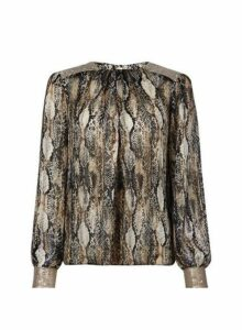 Womens Multi Coloured Snake Print Sequin Top, Multi Colour