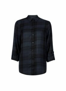 Womens Charcoal Checked Shirt- Black, Black
