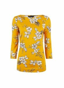 Womens Yellow Floral Print 3/4 Sleeve Cotton Top- Yellow, Yellow