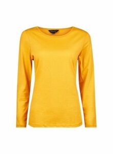 Womens Yellow Long Sleeve Crew Cotton T-Shirt- Orange, Orange