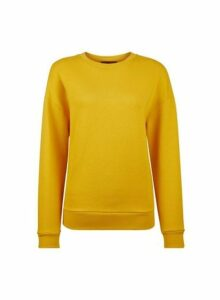Womens Yellow Basic Cotton Sweatshirt- Orange, Orange