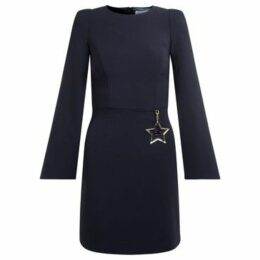 Elisabetta Franchi  Abito  blu a girocollo con stella applicata  women's Dress in Blue