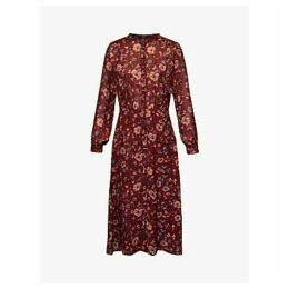 Gerard Darel Dilys Floral Print Silk Dress, Burgundy