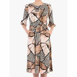 Jolie Moi Roll Collar Animal Print Shift Dress, Brown Pattern