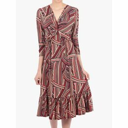 Jolie Moi Twist Front Flare Dress, Taupe Stripe