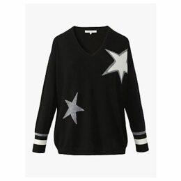 Gerard Darel Sidony Wool Mix Star Jumper, Black