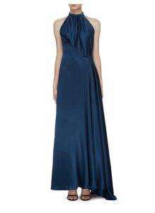 Buckle side silk satin sleeveless gown