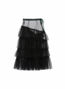 Belted tiered tulle skirt