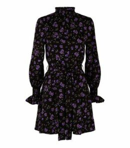 Influence Purple Floral High Neck Skater Dress New Look