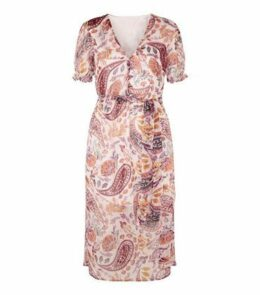 Influence Pink Paisley Puff Sleeve Midi Dress New Look