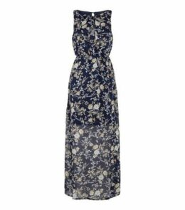 Mela Blue Floral High Neck Maxi Dress New Look