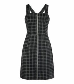 Black Check Zip Pinafore Dress New Look