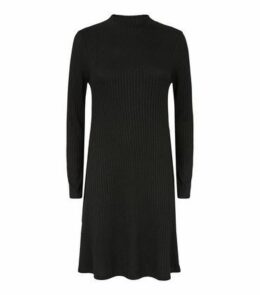 Black Fine Knit Ribbed Swing Dress New Look