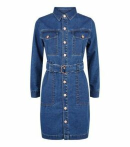 Petite Blue Denim Shirt Dress New Look