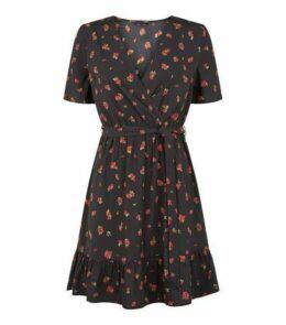 Black Rose Ruffle Wrap Mini Dress New Look