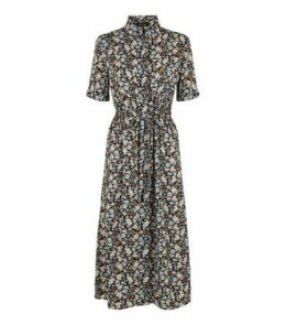Black Floral Drawstring Waist Midi Shirt Dress New Look
