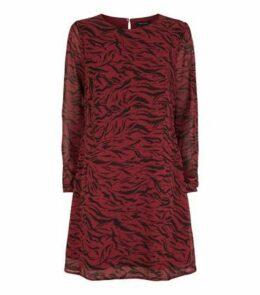 Red Chiffon Tiger Print Tunic Dress New Look