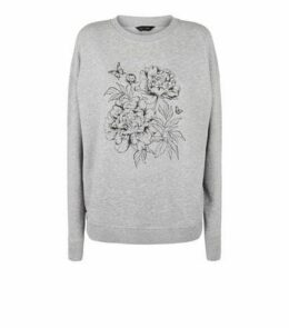 Grey Floral Gem Embellished Sweatshirt New Look