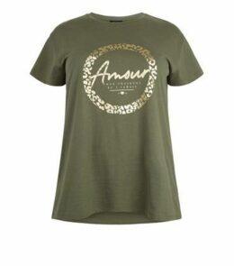 Curves Khaki Armour Metallic Slogan T-Shirt New Look