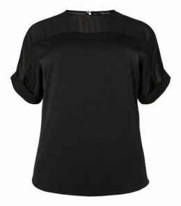 Curves Black Mesh Panel T-Shirt New Look
