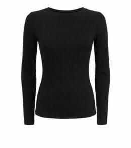 Petite Black Ribbed Long Sleeve Top New Look