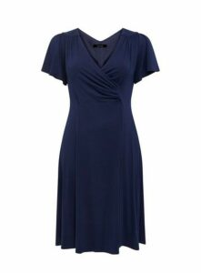 **Scarlett & Jo Navy Blue Crepe Fit And Flare Dress, Blue