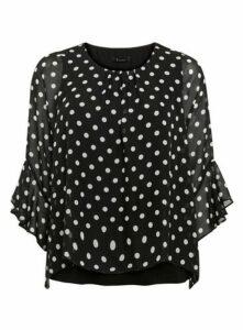 Black Spot Print Overlay Frill Sleeve Top, Black