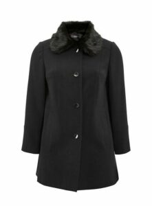 Black Faux Fur Collar Coat, Black