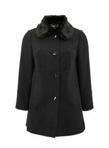 Black Faux Fur Collar Coat, Black