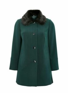 Green Faux Fur Collar Coat, Green